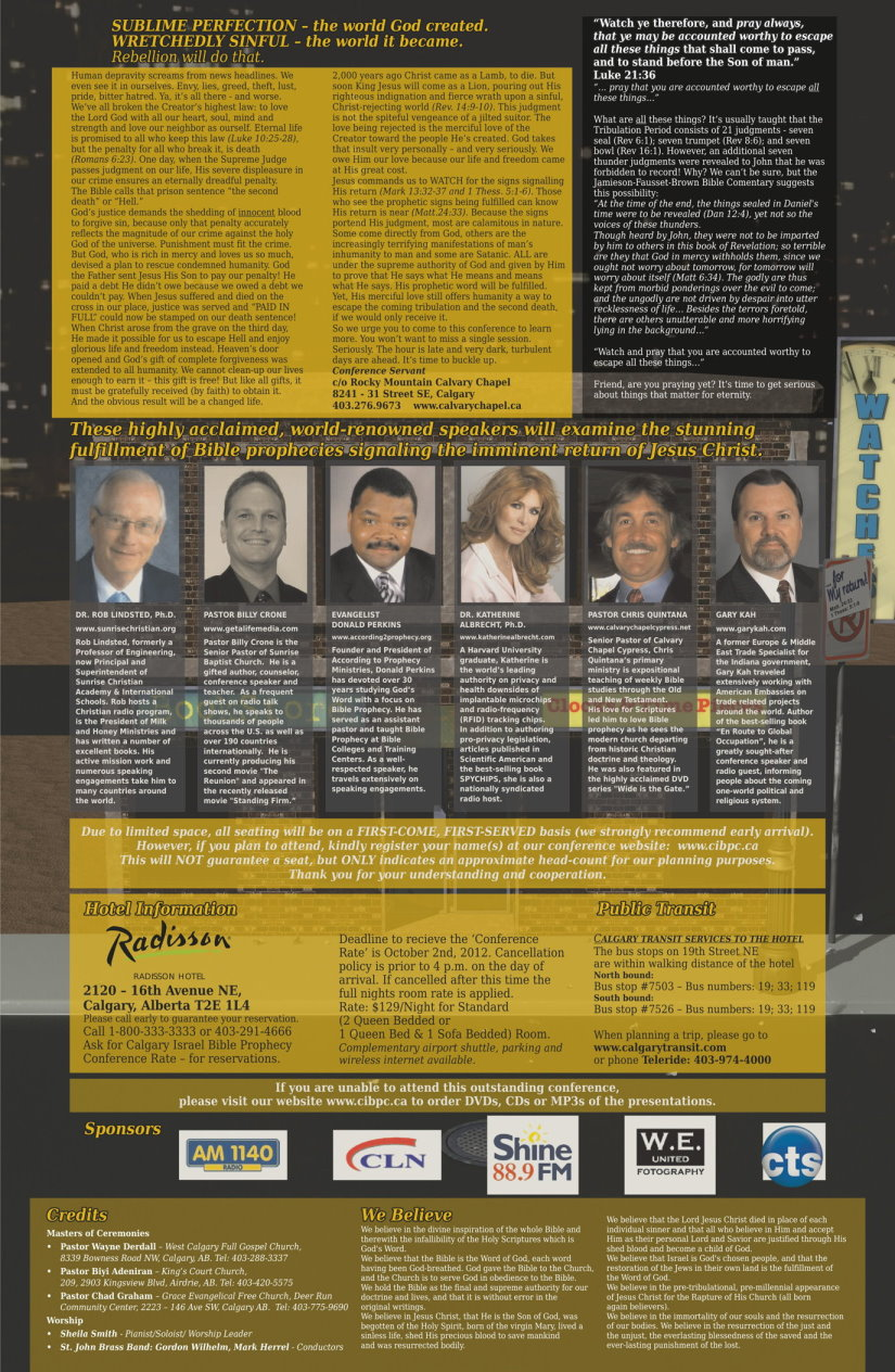 Calgary Israel Bible Prophecy Conference